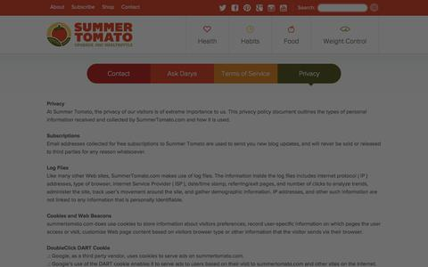 Screenshot of Privacy Page summertomato.com - Privacy | Summer Tomato - captured Aug. 16, 2016