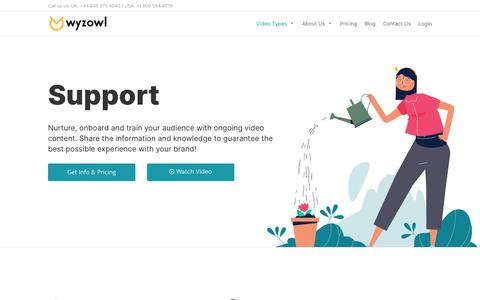 Screenshot of Support Page wyzowl.com - Support Your Prospects and Customers With Video | Wyzowl - captured Oct. 4, 2019