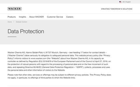 Screenshot of Privacy Page wacker.com - Data Protection - Wacker Chemie AG - captured Nov. 9, 2019