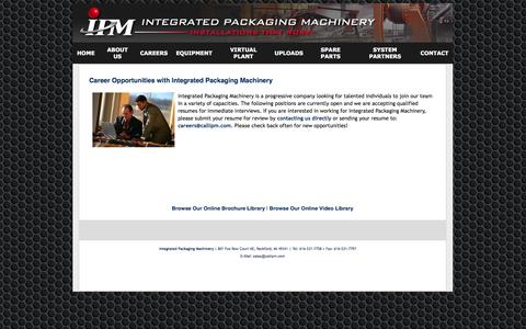 Screenshot of Jobs Page callipm.com - Integrated Packaging Machinery Career Opportunities - captured Oct. 6, 2014