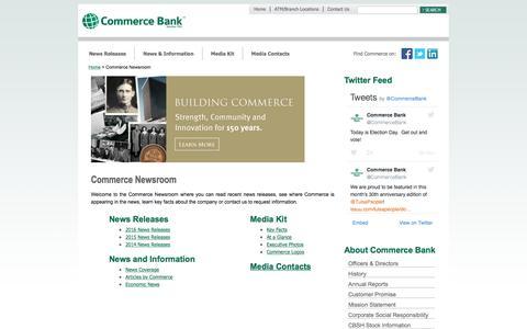 Screenshot of Press Page commercebank.com - Newsroom   Commerce Bank - captured Nov. 10, 2016
