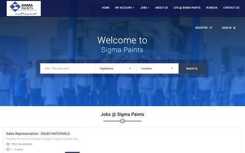 Screenshot of Jobs Page sigmapaints.com - Home - captured Oct. 18, 2018