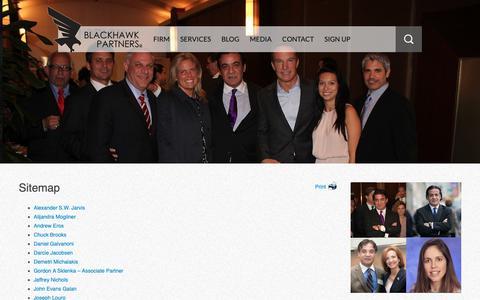 Screenshot of Site Map Page blackhawkpartners.com - Blackhawk Partners Sitemap - Services, Blog, Business Development - captured Oct. 6, 2018