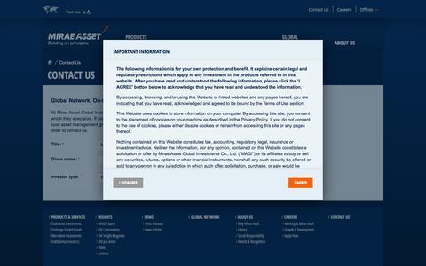 Screenshot of Contact Page miraeasset.com - Contact Us - Mirae Asset - captured Oct. 26, 2014