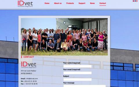 Screenshot of Contact Page id-vet.com - Contact | IDVet - captured Sept. 30, 2014