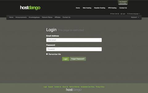 Screenshot of Support Page Login Page hostdango.com - Client Area - HostDango.com Internet Services - captured Dec. 15, 2015