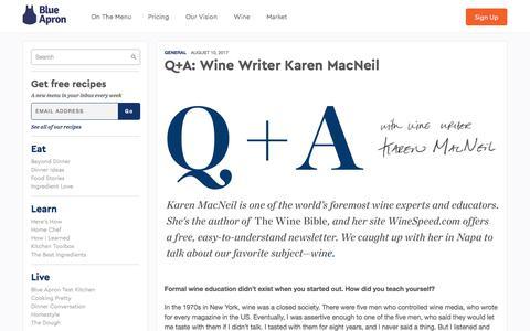 Screenshot of blueapron.com - Q+A: Wine Writer Karen MacNeil | Blue Apron Blog - captured Aug. 14, 2017