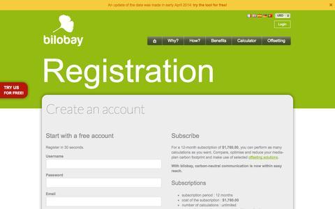 Screenshot of Signup Page bilobay.com - Create your account | bilobay - captured Sept. 30, 2014