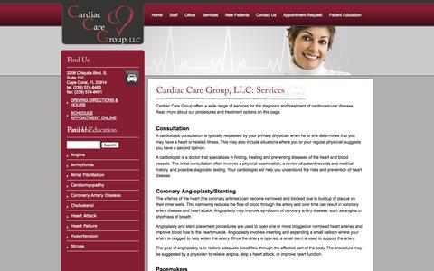 Screenshot of Services Page flccg.com - Cardiac Care Group, LLC: Services - CCG | Cape Coral, FL - captured Nov. 1, 2014