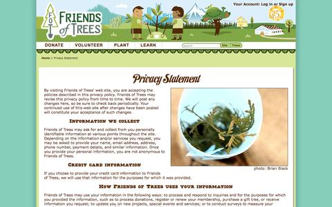 Screenshot of Privacy Page friendsoftrees.org - Privacy Statement - captured Sept. 19, 2014