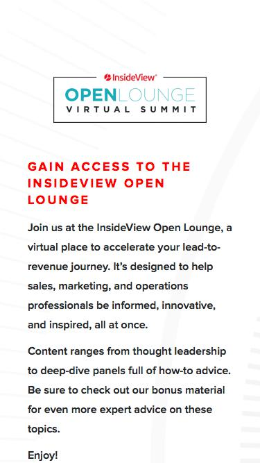 InsideView Open Lounge Virtual Summit | Registration