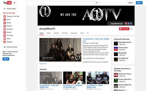 Screenshot of YouTube Page youtube.com - ArmyOfOneTV  - YouTube - captured Oct. 23, 2014