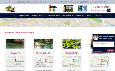 Screenshot of Locations Page Maps & Directions Page americachoicerv.com - Four Convenient Locations in Florida | America Choice RV - captured Sept. 26, 2017