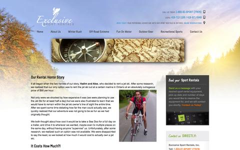 Screenshot of About Page sportrentals.ca - About Exclusive Sport Rentals | How Did it all Start - captured Oct. 1, 2014