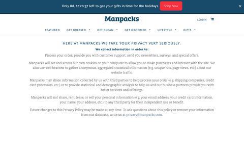 Screenshot of Privacy Page manpacks.com - Privacy Policy – Manpacks - captured Dec. 8, 2016