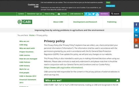 Screenshot of Privacy Page cabi.org - Privacy policy - captured July 14, 2018