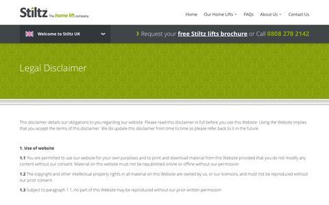 Screenshot of Terms Page stiltz.co.uk - Legal Disclaimer   Stiltz Home Lifts - captured Dec. 17, 2016
