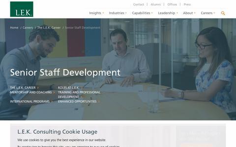 Senior Staff Development   L.E.K. Consulting