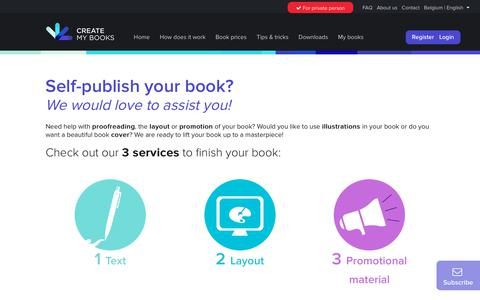 Screenshot of Services Page createmybooks.com - Services | Create My Books - captured Sept. 30, 2018