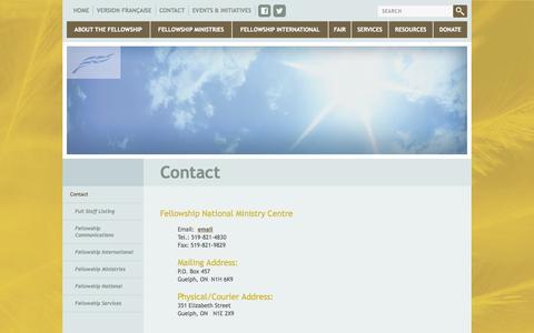 Screenshot of Contact Page fellowship.ca - Fellowship.ca - Contact - captured Oct. 5, 2014