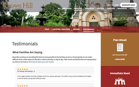 Screenshot of Testimonials Page crownhill.org - Crown Hill Funeral Home and Cemetery Testimonials - captured Sept. 29, 2018