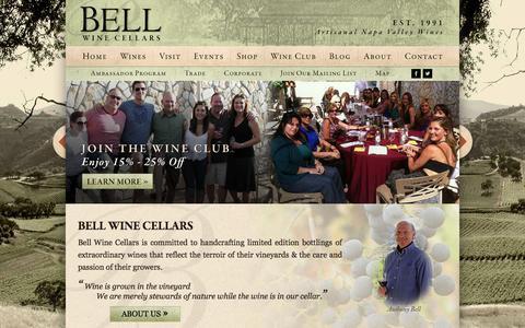Screenshot of Home Page bellwine.com - Bell Wine Cellars - Artisanal Napa Valley Winery - captured Jan. 28, 2015