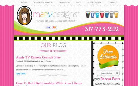 Screenshot of Blog marydesigns.com - Indianapolis Web Development Blog of MaryDesigns® MaryDesigns - captured Oct. 27, 2014