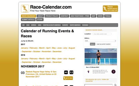 Screenshot of Home Page race-calendar.com - Directory and Calendar Running and Endurance Events - captured Oct. 31, 2017