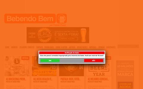 Screenshot of Home Page bebendobem.com.br -    Bebendo Bem - por Fabian Ponzi      - captured Nov. 10, 2015