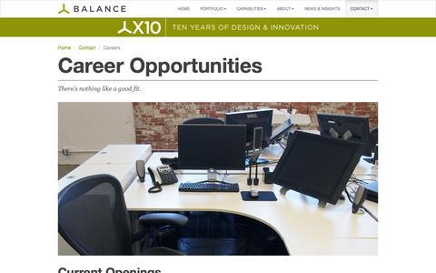 Screenshot of Jobs Page balanceinc.com - Careers - Balance Inc. - Informed Design. Inspired Solutions. - captured Oct. 5, 2014