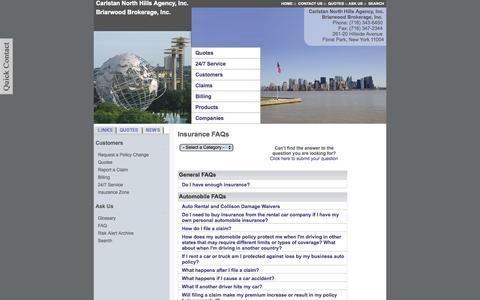 Screenshot of FAQ Page carlstan.com - FAQs - Carlstan North Hills Agency and Briarwood Brokerage, Inc. - Floral Park, New York 11004 - captured Oct. 2, 2014