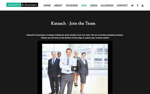 Screenshot of Signup Page karasch.com - Join The Team - KaraschKarasch - captured Oct. 16, 2017