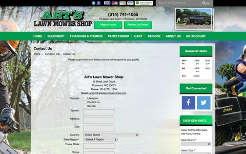 Screenshot of Contact Page artslawnmowershop.com - Contact Us Art's Lawn Mower Shop Florissant, MO (314) 741-1055 - captured Nov. 21, 2016