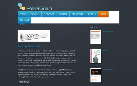 Screenshot of Press Page perigen.com - News - PeriGen - captured July 19, 2014