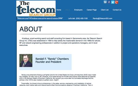 Screenshot of About Page telecomsg.com - About the Telecom Search Group wireless & telecom recruiter - captured Nov. 29, 2016