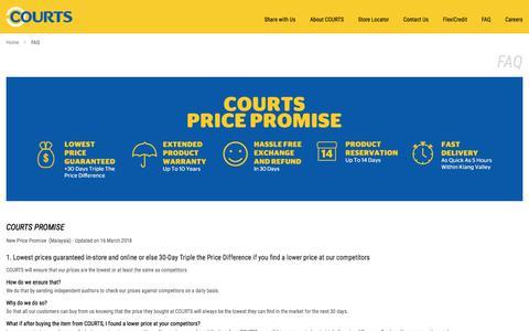 Screenshot of FAQ Page courts.com.my - FAQ - captured Sept. 25, 2018