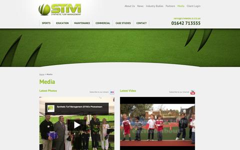Screenshot of Press Page stmworld.co.uk - Media - STM - Synthetic Turf Management Ltd | Artificial Grass, Lawns, and Astro Turf for Sports in North Yorkshire & North East England - captured Oct. 6, 2014