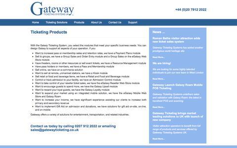 Screenshot of Products Page gatewayticketing.co.uk - Products - Gateway Ticketing Systems - captured Oct. 2, 2014