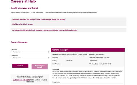 Screenshot of Jobs Page haloleisure.org.uk - Jobs & Careers at Halo | Halo Leisure - captured July 15, 2018
