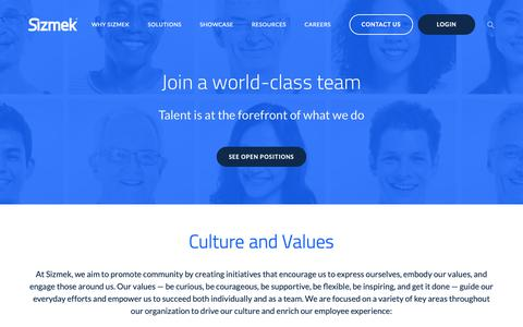 Screenshot of Jobs Page sizmek.com - Rewarding Careers Optimized with a Work/Life Balance - captured March 6, 2019