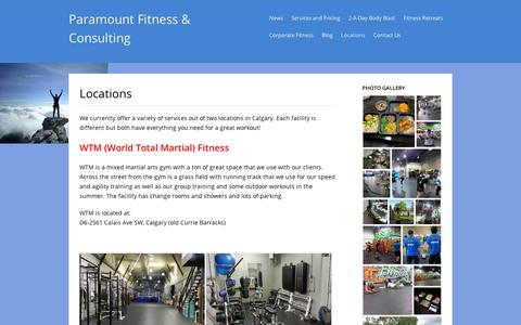 Screenshot of Locations Page wordpress.com - Locations | Paramount Fitness & Consulting - captured Sept. 12, 2014