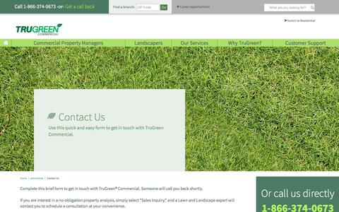 Screenshot of Contact Page trugreen.com - Contact Us| TruGreen Commercial - captured July 6, 2018