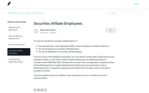 Securities Affiliate Employees – Robinhood Help Center