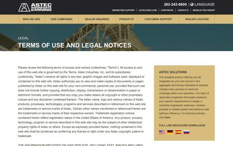 Screenshot of Terms Page astecworld.com - Terms of Use and Legal Notices - ASTEC - captured Oct. 7, 2017