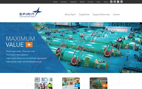 Screenshot of Home Page spiritaero.com - Home - Spirit AeroSystems - captured Sept. 1, 2015