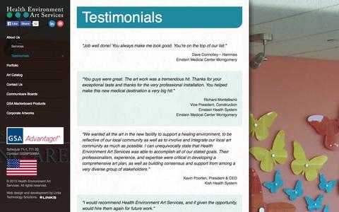 Screenshot of Testimonials Page healtheart.com - Testimonials | Health Environment Art Services - captured Oct. 2, 2014