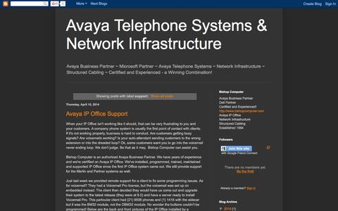 Screenshot of Support Page avaya-ipoffice.blogspot.com - Avaya Telephone Systems & Network Infrastructure: support - captured March 5, 2016