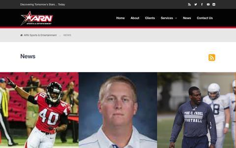 Screenshot of Press Page arnsports.com - News | ARN Sports & Entertainment - captured Oct. 4, 2014