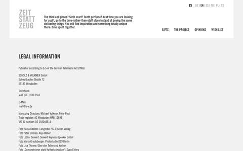 Screenshot of Contact Page Terms Page zeit-statt-zeug.de - Legal Information – Zeit statt Zeug - captured March 12, 2018