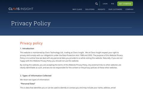 Screenshot of Privacy Page clavisinsight.com - Privacy Policy | Clavis Insight - captured April 18, 2018